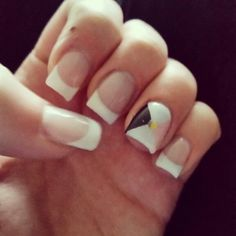 French with super simple argyle accent with gold sequin gel nails