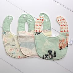 Pastel Woodland Bib Trio ollieandolina.com :: cherish your newborn Beautiful handmade quilts, bibs, and more! Perfect for the baby and baby gifts!