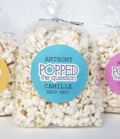 He Popped The Query Sticker, Young couples Wash Popcorn Favors Creative Wedding Favors, Inexpensive Wedding Favors, Elegant Wedding Favors, Custom Wedding Favours, Personalized Party Favors, Wedding Favors For Guests, Gifts For Wedding Party, Craft Wedding, Table Wedding