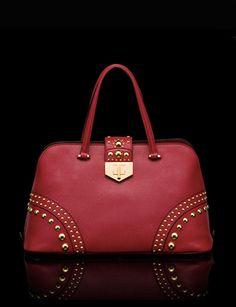PRADA Saffiano Cuir Top-Handle Bag with Metal Studs