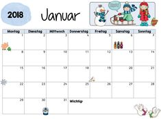 """Kalenderblätter/Monatsblätter für 2018 Da ich meine Aushänge im Klassenraum etwas """"verschlanken"""" möchte, habe ich Monatsblätter erstellt. ..."""