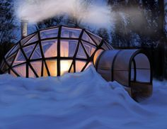 A Finnish sauna in the wilds of Lapland Finland Tiny Cabins, Cabins And Cottages, Geodesic Dome Homes, Sauna Design, Finnish Sauna, Lapland Finland, Dome House, Arctic Circle, House Inside
