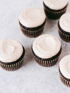 chocolate stout cupcakes with irish whiskey ganache & irish cream frosting | oh, ladycakes