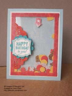 Epic Day & Label Love Artisan Birthday Card - Shaker Card uses Epic Day Designer Series Paper and Washi Tape to create the Shaker element.   - Jean Fitch - Rogue Thougts blog - Links to tutorials and an instruction PDF in post.