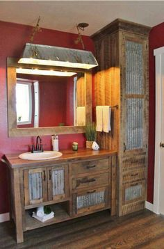 Galvanized Lighting Barnwood Bathroom Vanity Barn Rustic Cabin