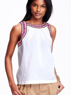Embroidered Poplin Tank