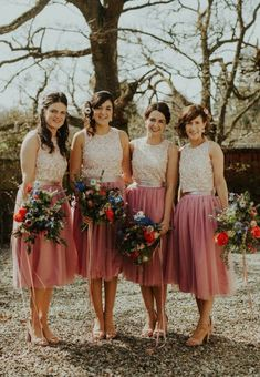Lorna's beautiful maids wear TFNC London Sequin tops with hand-made tulle skirts, for a Springtime Highland wedding. Image by The Curries Bridesmaid Skirt And Top, Discount Bridesmaid Dresses, Bridesmaid Separates, Elegant Bridesmaid Dresses, Blush Bridesmaid Dresses, Wedding Bridesmaids, Wedding Gowns, 2 Piece Bridesmaid Dress, Patterned Bridesmaid Dresses