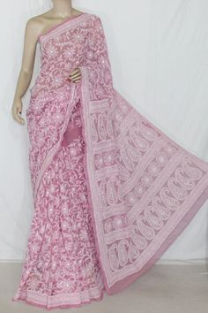 Onion Color Allover Hand Embroidered & Mukaish Work Lucknowi Chikankari Saree (With Blouse - Georgette) 14364