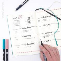 Bullet journal weekly layout, hamd lettering, simple bullet journal weekly layouts. @carlakamphuis