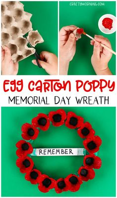 Make a egg carton poppy memorial day wreath for a kids craft! Also using a paper… Make a egg carton poppy memorial day wreath for a kids craft! Also using a paper plate for the wreath. Memorial Day Activities, Remembrance Day Activities, Remembrance Day Poppy, Craft Activities, Physical Activities, Memorial Day Poppies, Memorial Day Wreaths, Wreath Crafts, Flower Crafts