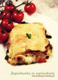 Zapiekanka ze szpinakiem, mozzarellą, pomidorami i szynką/boczkiem