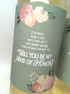 """Sage Green """"Be My Bridesmaid"""" Gift Label- for Wine Bottles & Candles"""
