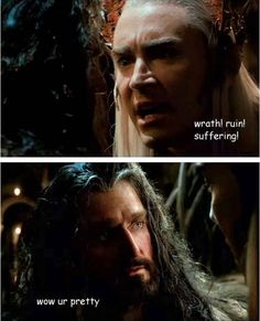 Because when he's instilling the fear of elves into some poor soul he's still smiting hearts left and right. A set of pictures explaining why Thranduil is the star of DoS. XD Click on the picture!