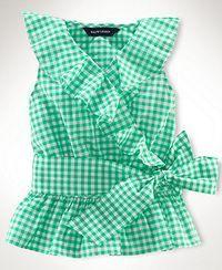 Ralph Lauren Kids Shirt, Little Girls Sleeveless Ruffle Top - Kids Toddler… Little Girl Outfits, Little Girl Fashion, Baby Outfits, Kids Outfits, Fashion Kids, Toddler Fashion, Baby Girl Dresses, Baby Dress, Ralph Lauren Kids