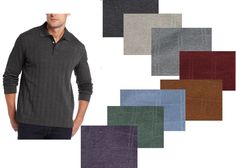 Van Heusen Windowpane Polo shirt long sleeves Men's size M, XL NEW #VanHeusen #PoloRugby