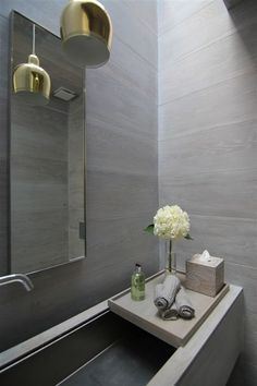 | BATHROOMS | ARCHITECTURE | DETAILS | Photo Credit: Unknown. (please let me know orignal source so that I can include appropriate credit) Love the soft gray linen stone walls illuminated by a light well.