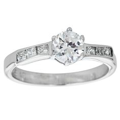 Decadence Sterling Silver Mircopave Round and Princess-cut Solitaire Ring with Cubic Zirconia (Size 6), Women's, White