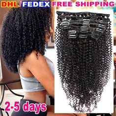 8A Grade Kinky Curly Clip in Human Hair Extension Full Head Brazilian Virgin Hair Afro Kinky Curly Clip in Extension Black Women