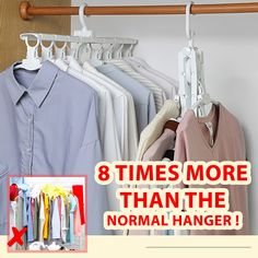 Multifunctional Space-saving Hanger 😍 No more stress hanging and folding clothes from the hanging line. You can save more time in your bu Wardrobe Organisation, Wardrobe Storage, Closet Organization, Room Closet, Closet Space, Space Saving Hangers, Closet Hacks, Diy Clothes Videos, Fold Clothes