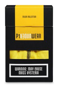 SuperRebel   P1 Underwear makes every badass look good. P1 Underwear is een nieuw Nederlands boxershort merk met grote ambities. En vooral veel mentaliteit. Voor de verpakking heeft SuperRebel zich laten inspireren door de waarschuwingen op de sigarettenpakjes. Maar dan iets minder dodelijk, vooral positiever. Op deze manier is het niet alleen leuk om een onderbroek voor jezelf te kopen, maar ook leuk om cadeau te geven.