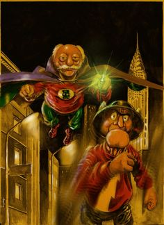 Slater and Waldorf as Golden Age Flash and Green Lantern by Nick Perks
