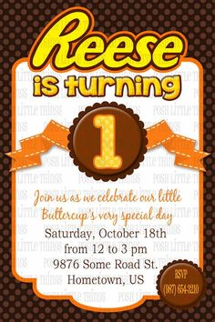 Reese's Peanut Butter cups Birthday Party Custom Invitations!
