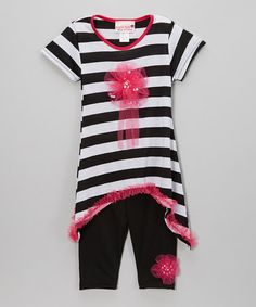 Another great find on #zulily! Black & White Stripe Tunic & Leggings - Toddler & Girls #zulilyfinds