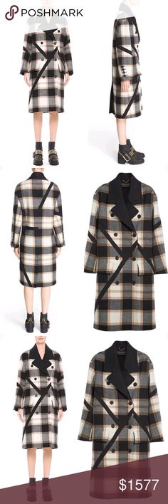 """Burberry Prorsum Burberry Tartan Plaid Wool Coat Details & Care Hand-placed angled trim breaks up the crisp tartan plaid of this oversized wool coat with graphic, geometric lines. Logo-embossed buttons and melton facing at the notch collar offer refined contrast.  37"""" length (size 44) Double-breasted button closure Notch collar Long sleeves with button cuffs Front flap pockets Lined 100% virgin wool Dry clean Made in Italy Collectors Burberry Prorsum Jackets & Coats"""