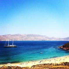 Panoramic view of my favorite nu-hippie beach: Agios Sostis baby!