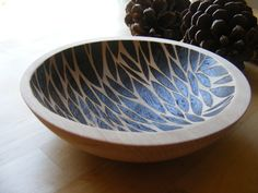 Hand-turned Patterned Wooden Bowl - Leaf Drop by woodhausstudio on Etsy https://www.etsy.com/listing/63779744/hand-turned-patterned-wooden-bowl-leaf