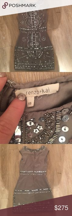 """Renzo + Kai Cap Sleeve Embellished Dress Renzo + Kai Cap Sleeve Embellished Dress; 100% Silk; Beaded Throughout; Lined; Hidden Zip Back Closure; Approx. Length: 33""""; Hits Above Knee; Dry Clean; Never Worn; Excellent Condition Anthropologie Dresses Midi"""