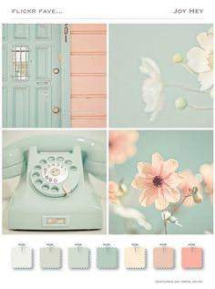 A touch of mint color trend in the home - Jennifer Rizzo Pastel tints color palette mood board Colour Schemes, Color Trends, Color Combos, Colour Palettes, Color Combinations For Walls, Summer Color Palettes, Vintage Color Schemes, Chic Bathrooms, Color Pallets