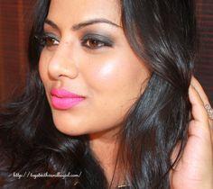 Black Smokey Eyes with Fuchsia Lips,FOTD,Party Makeup