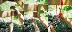 Warping a garden loom.