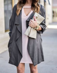 Houston fashion blogger wearing a duster jacket with a pink dress, My new favorite trend - Flaunt and Center | Outfit ideas for spring, light jackets,
