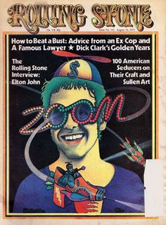 Elton John color illustration on the cover of Rolling Stone – August 16, 1973