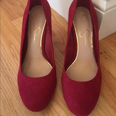 Jessica Simpson Wedges Size 8 Like new! Jessica Simpson red suede wedges in size 8. Only worn twice so they are like new. 3.5 inch heel. Very comfortable! Jessica Simpson Shoes Wedges