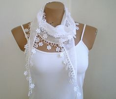 White Scarf Summer Fashion Woman Scarf Scarves by fizzaccessory, $14.00  Love! This is so cute!!