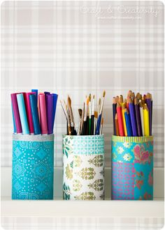 Paper pen holders decorated with pretty paper and washi tape. In English & Swedish. Crafts For Teens, Diy And Crafts, Arts And Crafts, Upcycled Crafts, Diy Projects To Try, Craft Projects, Monogram Stencil, Pot A Crayon, Washi Tape Crafts
