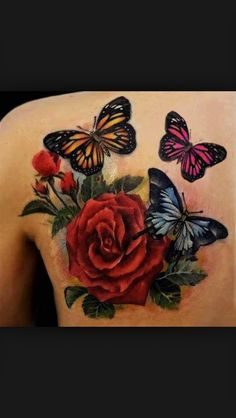 tattoo schmetterling mit rose tattoo rosen tattoo. Black Bedroom Furniture Sets. Home Design Ideas