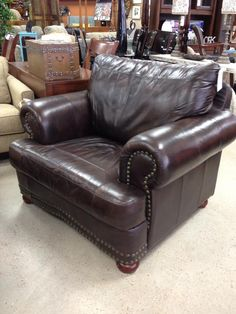 2 custom leather chairs with nailhead trim just arrived!! Jan 2016