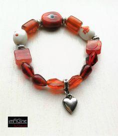 Red glass beads bracelet.