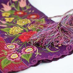 Zinacantán Purple Embroidered Rebozo Shawl - Zinnia Folk Arts