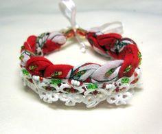 cotton fabric bracelet red cotton bracelet summer by INDAJEWELLERY