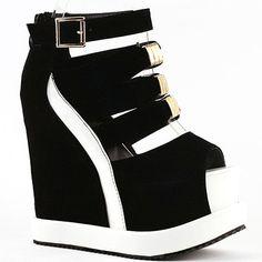 LF38823 Sexy Black White Peep Toe Buckle Strappy Wedge Platform Sandals