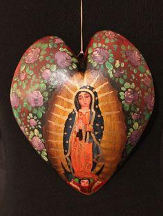 Hand Painted Heart Shape Retablo Virgin of Guadalupe Patzcuaro Mexican Folk Art