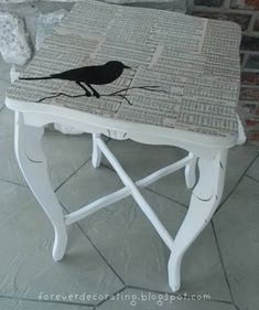 Thrift store table makeover- Bird table, could also use old photographs. Cut table in half and attach to wall for vanity. Decoupage Furniture, Refurbished Furniture, Repurposed Furniture, Furniture Projects, Furniture Makeover, Painted Furniture, Diy Furniture, Diy Projects, Decoupage Coffee Table