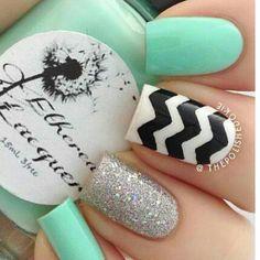 Glitter mint chevron nails