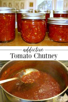 A delicious tomato chutney recipe that is a ketchup-like condiment for adults full of complex flavors and a little heat. Everybody who tries it agrees it is addictive! Pair it with just about anything - meats vegetables grains or appetizers. Relish Recipes, Jam Recipes, Canning Recipes, Sweet Tomato Relish Recipe, Spinach Recipes, Ketchup, Tandoori Masala, Sauce Barbecue, Tomato Jam