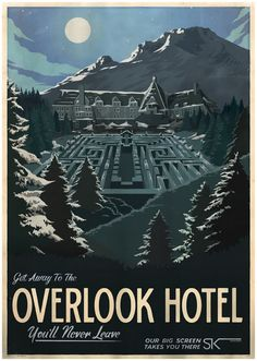 retro movie poster. The Shining. Like the postcard look